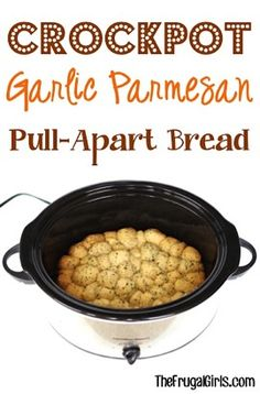 This Crockpot Garlic Parmesan Pull-Apart Bread Recipe will hit the spot for sure! It's the perfect addition to your dinner or party menu. SO delicious!