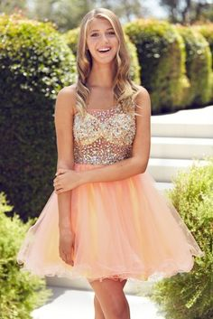 Fashion A-line One-houlder Mini Tulle Beading Homecoming Dress/Party Dress HCS0015 | BGCP
