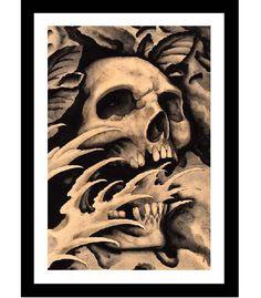 Screaming Skull Art Print by Clark North
