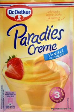 """The """"Dr.Oetker Paradise Cream - Vanilla"""" is a very special treat and delights the entire family. A dessert for every day that tastes unmistakably light and creamy. A truly heavenly pleasure. For a popular variation, the paradise cream. New Recipes, Vegan Recipes, Dessert Glasses, Sweet Desserts, Mixed Drinks, Fresh Fruit, Heavenly, Rum, Paradise"""