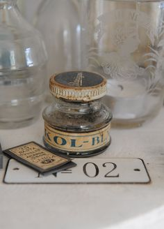 Old and so beautiful! Altered Bottles, Vintage Bottles, Bottles And Jars, Glass Bottles, Oldies But Goodies, Wax Seals, Rustic Charm, Letters And Numbers, Decoration