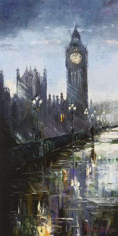 'Late Night in London' by Gleb Goloubetski Oil on Canvas 100cm x 50cm