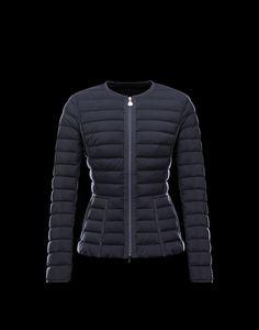 moncler vos long down women jacket navy -