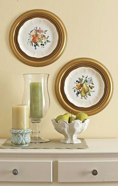 use ceiling medallions as frames for Grandma's dishes