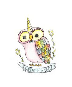 Rainbow Unicorn Watercolor Owl by Kristy Jarvis
