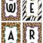 "Letters to spell out ""We are wild about _grade!"" Safari themed - too cute!"