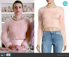 Hester's blush pink fluffy sweater on Scream Queens. Outfit Details: http://wornontv.net/52682/ #ScreamQueens