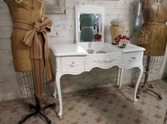 Vintage Painted Cottage Chic White French Vanity