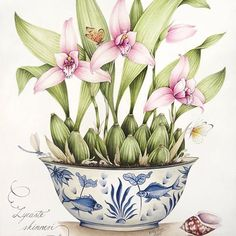Lycaste Skinneri growing orchid in a blue and white pot. Original painting I've just completed. #kellyhiggs #kellyhiggsbotanicalart #blueandwhite #chinoiserie #chinoiserieart #orchids #botanicalart #botanicalpainting #botanicalwatercolor #decorativeart #decorativebotanicalart