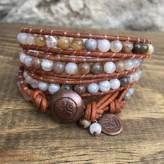 Multi Brioche Agate Gemstone Wrap Bracelet with Oxidized Copper Button Closure and Lotus Charm Accent by KyaraCreations on Etsy Jewelry Ideas, Unique Jewelry, Wrap Bracelets, Agate Gemstone, Jewerly, Wraps, Copper, Bling, Charmed