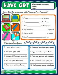 HAVE GOT - WORKSHEET 2 http://eslchallenge.weebly.com/packs.html