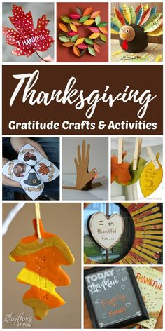 Thanksgiving Gratitude Crafts & Activities – Here's a round-up of our favorite thankful holiday-themed activities and crafts. These provide an easy way for families to cultivate an attitude of gratitude during the Thanksgiving season. Thanksgiving Arts And Crafts, Thanksgiving Activities For Kids, Holiday Activities, Craft Activities, Fall Crafts, Holiday Crafts, Holiday Fun, Thanksgiving Decorations, Kids Thanksgiving