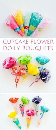 DIY Cupcake Liner Flower Doily Bouquets. Cute spring craft for kids or handmade paper flower gifts to hand out!