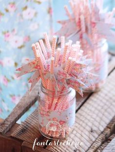 paper straws with floral flags!