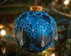 Tatted Beaded Christmas Ornament: Needle Tatting Lace Teal & Gold with Crystal Christmas Ball
