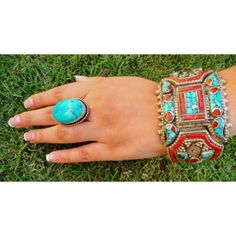 Antique Tibetan Tribal Amber, Coral, Turquoise and Silver Cuff. #bracelets #fashion  9thelm.com