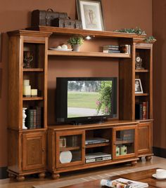 2 PC Acme Furniture Ferla Collection Light Oak Entertainment Center 91095