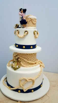 Nautical cake inspiration For more cake inspiration check out my 50 Lovely Celebratory Cakes for Wedding, Birthday and Occasions Amazing Wedding Cakes, Unique Wedding Cakes, Wedding Cake Designs, Amazing Cakes, Wedding Themes, Wedding Ideas, Nautical Wedding Cakes, Nautical Cake, Nautical Baby Shower Cakes