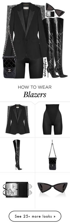 """Untitled #2777"" by stylebyteajaye on Polyvore featuring Yves Saint Laurent, SPANX, Chanel, Vetements and Hermès"