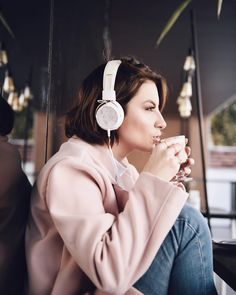 Enjoy your fika with the Regent on-ear headphones Sudio Sweden Coffee Photography, Photography Women, Creative Photography, Human Poses Reference, Female Reference, Girl Photo Poses, Girl Photos, Girl With Headphones, Ear Headphones
