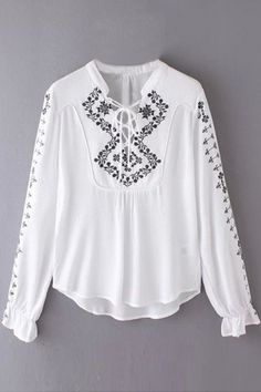 Fashion Embroidered Lace Up Blouse