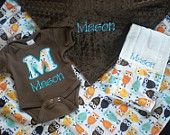 Etsy--Baby Boy Gift Set - Owl Minky - Personalized Blanket, Onesie and Burp Cloth  FREE SHIPPING  $68