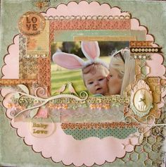 baby, Easter, scrapbook layout, page, bunny kisses