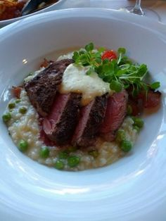 Lamb with bacon and pea rissottto