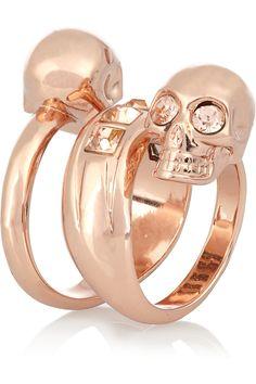 Alexander McQueen|Swarovski crystal solid brass double-skull ring