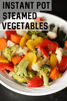 Steamed is the best way to eat vegetables and now with this Instant Pot perfectly steamed vegetables recipe, you can make the best vegetables in a fraction of the time and effort! Instant Pot Steamed Vegetables, Steam Vegetables Recipes, Vegetable Recipes, Veggie Dishes, Best Side Dishes, Side Dish Recipes, Ham And Pineapple Pizza, Dinner Entrees, Dinner Recipes