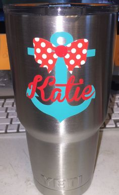 http://www.modelhomekitchens.com/category/Yeti-Tumbler/ Anchor with Bow and Name Personalized Yeti Tumbler by LeslisDesigns on Etsy