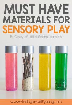 Must have items for sensory play with toddlers. A complete guide to create fun sensory play experiences for your child including food items, set up, props and clean up. Sensory Tubs, Sensory Rooms, Sensory Bottles, Baby Sensory, Sensory Play, Infant Sensory, Sensory Motor, Motor Skills Activities, Sensory Activities
