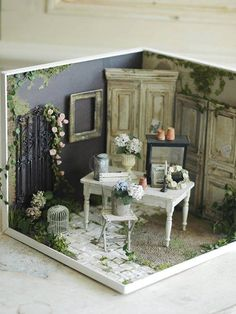 25 Ideas Doll House Exterior Minis For 2019 Village Miniature, Miniature Rooms, Miniature Crafts, Miniature Houses, Miniature Furniture, Doll Furniture, Dollhouse Furniture, Diy Dollhouse, Dollhouse Miniatures