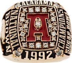 1992 Alabama Crimson Tide National Championship Player's Ring