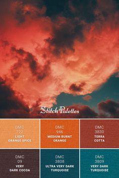 Floss color inspiration for cross stitch and embroidery projects. Thread colors used: DMC Light Orange Spice / DMC Medium Burnt Orange / DMC Terra Cotta / DMC Very Dark Cocoa / DMC Ultra Very Dark Turquoise / DMC Very Dark turquoise. Palette ID: Burnt Orange Paint, Orange Paint Colors, Orange Color Schemes, Orange Palette, Orange Color Palettes, Color Schemes Colour Palettes, Paint Color Schemes, Colour Pallette, Turquoise Color Palettes