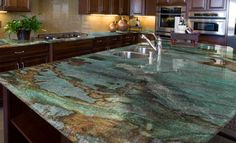 You can find the inspiration to read the simple granite slabs kitchen countertops ideas. Blue Granite Countertops, Types Of Countertops, Granite Slab, Granite Kitchen, Kitchen Countertops, Epoxy Countertop, Stone Kitchen, White Granite, Kitchen Backsplash