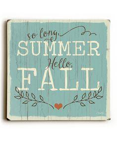 So Long Summer Wood Sign