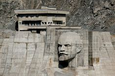 A bas-relief depicting Soviet state founder Vladimir Lenin on a dam at the Kirov Reservoir in the Talas region of western Kyrgyzstan on September 4, 2017.