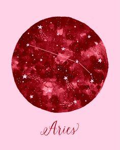 Aries Constellation Illustration Vertical by fercute on Etsy Mais Arte Aries, Aries Art, Zodiac Art, Aries Zodiac, Sagittarius, Zodiac Signs, Moon Zodiac, Illustration Inspiration, Astrology