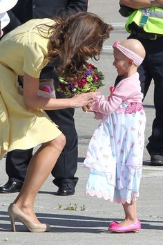 "6-year-old Diamond Marshall, who was diagnosed with stage 4 cancer last year and lost her mother to the disease when she was 18-months-old, met Kate Middleton in Calgary with help from the Children's Wish Foundation after she wrote this letter: ""Dear Princess Kate. My name is Diamond Ann. I am six. I was named after Princess Diana. My Mommy Memory is in heaven with her. I have cancer. I spend a lot of time at the hospital. I watched you get married from my bed there. You looked pretty.  I li..."