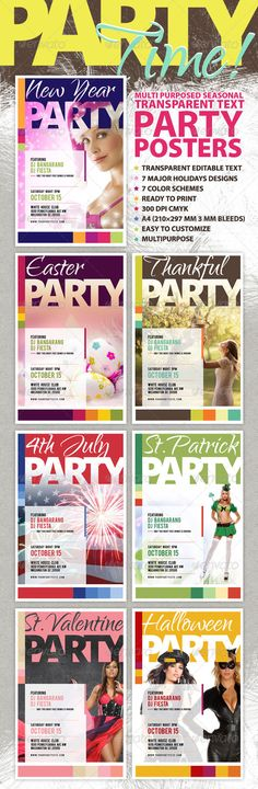 Its time to party, folks! This posters kit featured with editable transparent text and bright colors will allow youto design quick and easy poster for any party. Designed for major USA holidays, can be easily changed for your desired party or meeting. Every si