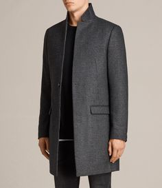 3e8de05056 ALLSAINTS UK  Mens Spyro Coat (Black Grey) Coats 2017