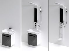 Compact Bathrooms Modular Shower UnitBuild your own modular bathroom exactly the way you want it with this system, which consists of various elements like a rain shower, basin, cabinet, and even a foot shower that can be arranged in different ways.
