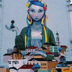 Street art in Kiev, Ukraine by artists Seth global painter and kislow Grafitti Street, Street Art Utopia, 3d Street Art, Street Artists, Urban Graffiti, Graffiti Art, Nature Crafts, Public Art, Urban Art