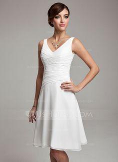 Bridesmaid Dresses - $89.99 - A-Line/Princess V-neck Knee-Length Chiffon Bridesmaid Dress With Ruffle Beading (007001083) http://jjshouse.com/A-Line-Princess-V-Neck-Knee-Length-Chiffon-Bridesmaid-Dress-With-Ruffle-Beading-007001083-g1083?gver=WkEGk&ver=xdegc7h0