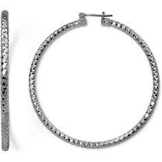 Sensitive Ears Hematite Diamond-Cut Hoop Earrings ($8.99) ❤ liked on Polyvore featuring jewelry, earrings, diamond earrings, hematite earrings, mixit, nickel free hoop earrings and diamond hoop earrings
