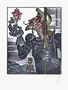 Don Quixote. Exlibris by ARKADY PUGACHEVSKY