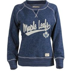 For Me Women's Toronto Maple Leafs Old Time Hockey Navy Blue Seneca Snow Fleece Crew Sweatshirt