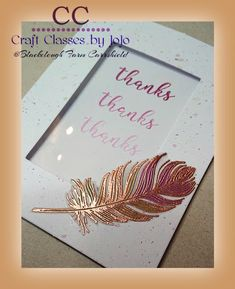 beautiful thank you card with a feather Thank You Cards, Feather, Thankful, Paper Crafts, Place Card Holders, Crafty, Studio, Simple, Projects