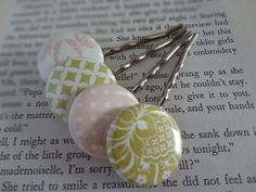 Shabby Chic Moss Green and Light Pink Bobby Pins